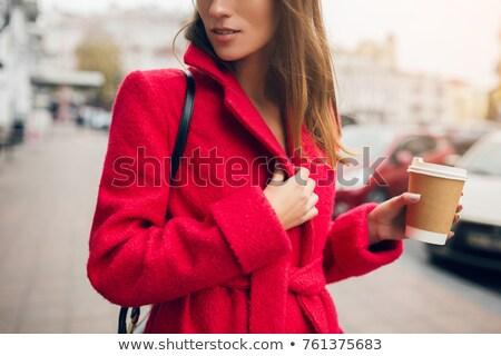 Kobieta ciepłe ubrania ulicy wiosną kobiet śniegu Zdjęcia stock © ElenaBatkova