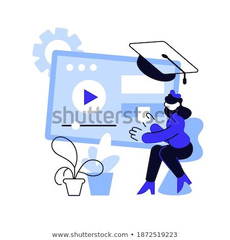 Online voorbereiding les vector metafoor internet Stockfoto © RAStudio