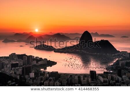 Rio de Janeiro dourado silhueta cityscape edifício Foto stock © ShustrikS
