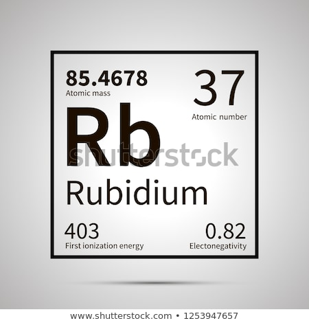 Rubidium chemical element with first ionization energy, atomic mass and electronegativity values ,si Stock photo © evgeny89