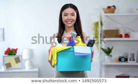 Asian vrouw vod wasmiddel schoonmaken home Stockfoto © dolgachov