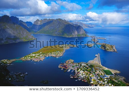 Village in Norvegian fjords Stock photo © joyr