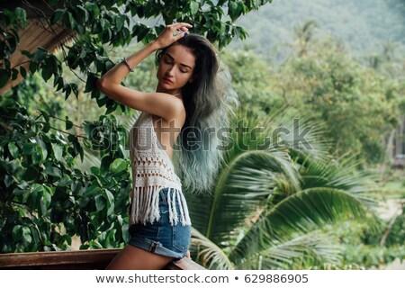 mulher · jovem · curto · verão · vestir · em · pé · floresta - foto stock © darrinhenry