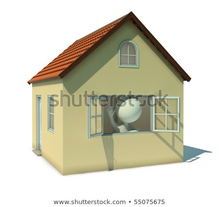 3d small people   welcoming from a window stock photo © anatolym