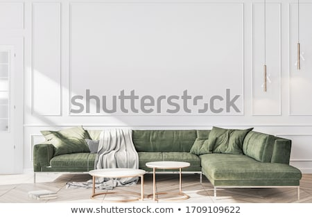 Yeşil kanepe beyaz duvar ışık dizayn Stok fotoğraf © Ciklamen