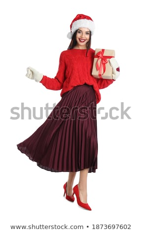 femme · rouge · laine · chandail · visage - photo stock © feverpitch