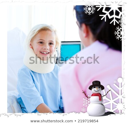 Adorable little girl with a neck brace talking with a nurse stock photo © wavebreak_media