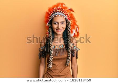 portre · çekici · bayan · gri · kürk · kadın - stok fotoğraf © acidgrey