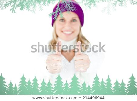 Frau Daumen up Schal lächelnd Kamera Stock foto © wavebreak_media