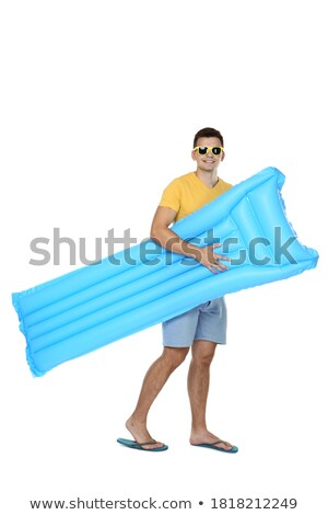 Inflatable beach mattress isolated on white background stock photo © shutswis