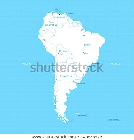 Mapa américa del sur estrellas silueta tarjeta país Foto stock © Ustofre9