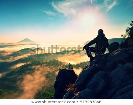 Menino montanha trilha rochas nublado Foto stock © przemekklos