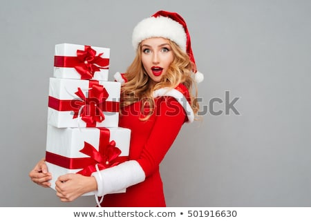 Verwonderd christmas meisje jonge mooie hoed Stockfoto © Kor