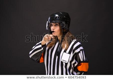 портрет · хоккей · судья · изолированный · белый · человека - Сток-фото © AndreyPopov