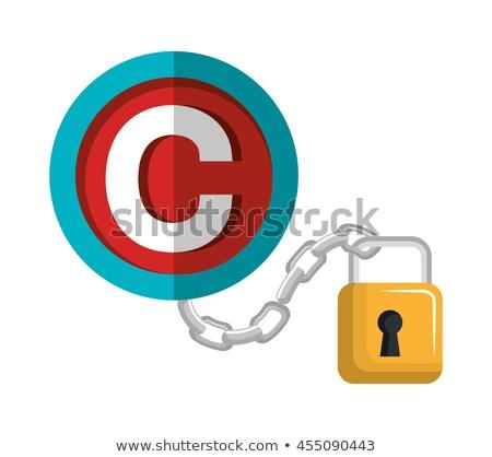 Szerzői jog lakat védelem illusztráció terv fehér Stock fotó © alexmillos
