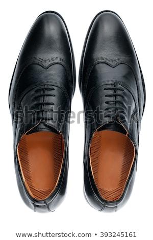 Fekete cipők fotó fehér építkezés láb Stock fotó © Marfot