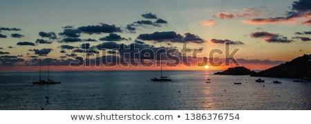 Magnífico puesta de sol mediterráneo mar veleros Foto stock © amok