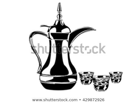 Stock fotó: Coffee And Tea Pots And Mugs Vector