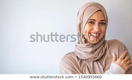 Iráni nő gyönyörű karcsú fekete ruha festett Stock fotó © disorderly