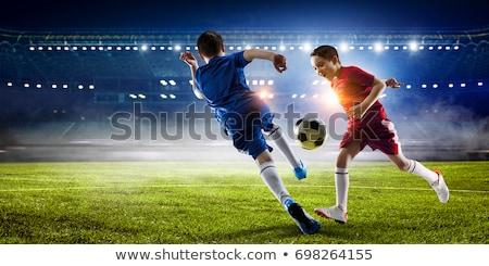 Foto stock: Pequeño · futbolista · pelota · dedo · aislado