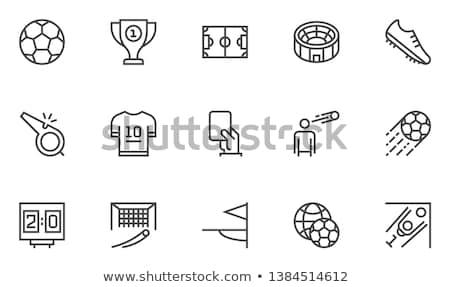 Stock photo: Soccer player to kick the ball thin line icon