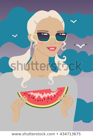 Portrait of blonde woman eating watermelon. Stock photo © PawelSierakowski