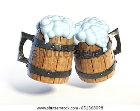 wooden beer cup Stock photo © netkov1