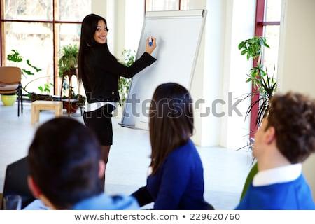 女性実業家 書く ホワイトボード 幸せ オフィス ストックフォト © deandrobot