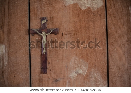 Crucifix wooden background Stock photo © marimorena