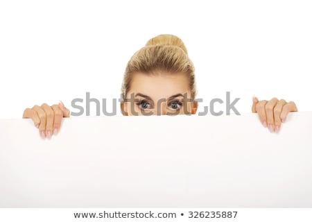 Stock fotó: Szőke · nő · tábla · izolált · fehér · kezek · arc