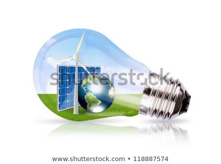 Light bulb and wind turbine inside. Stock photo © RAStudio