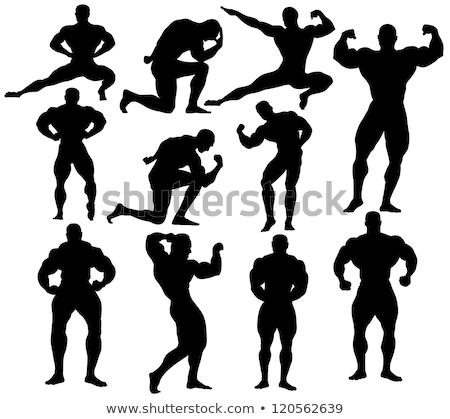 Siluet kas adam ayakta karanlık spor Stok fotoğraf © deandrobot