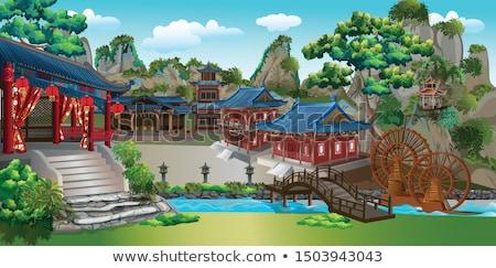 中国語 橋 公園 自然 風景 木 ストックフォト © SergeyAndreevich