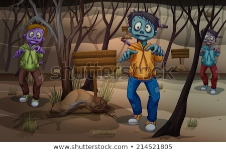 A zombie at the forest with empty signboards Stock photo © bluering