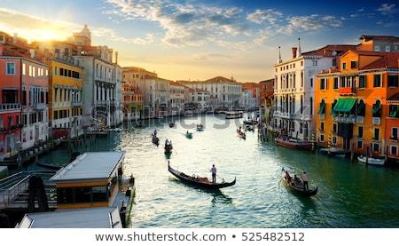 Canal Venise coucher du soleil Italie bâtiment ville Photo stock © artjazz
