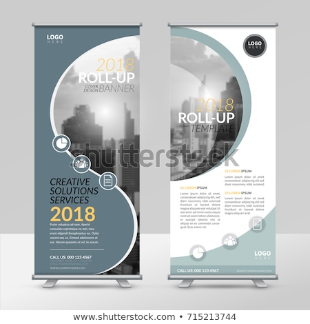 dark blue abstract standee roll up banner design template stock photo © sarts