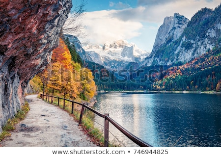сцена пруд горные иллюстрация воды трава Сток-фото © bluering
