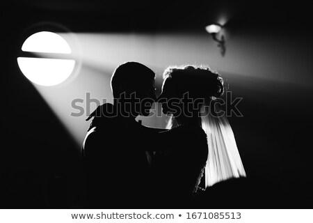 Bride and Groom Wedding Bridal Dress Silhouette Stock photo © Krisdog