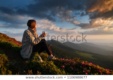 girl viewing mountain scenery Stock photo © IS2
