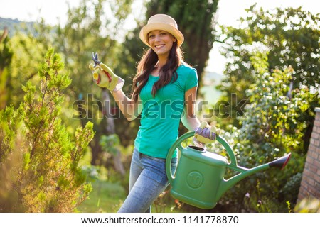 young girl cutting hedge Stock photo © IS2