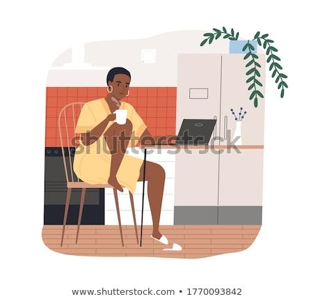Mulher relaxante copo chá comida assistindo Foto stock © IS2