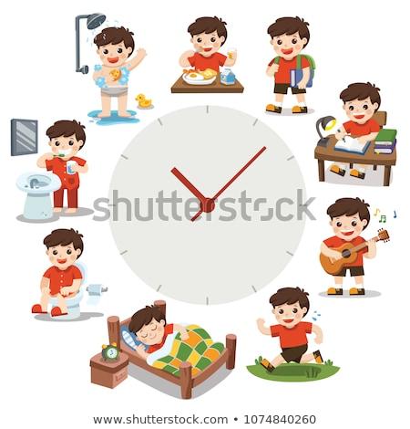 Kinderen verschillend activiteiten dagelijks klok kind Stockfoto © bluering