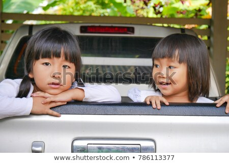 5 young people traveling in pickup truck Stock photo © IS2