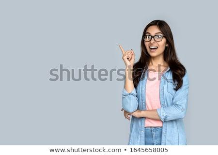 счастливым удивительный молодые деловой женщины указывая изображение Сток-фото © deandrobot