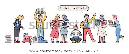 Fiú olvas rajzolt emberek karakter izolált illusztráció Stock fotó © Decorwithme