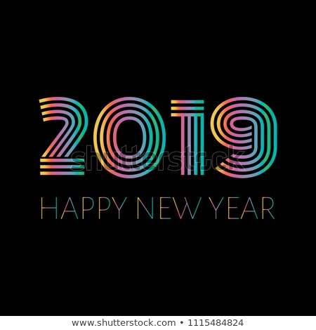 retro style numbers 2019 and happy new year greetings isolated stock photo © ussr