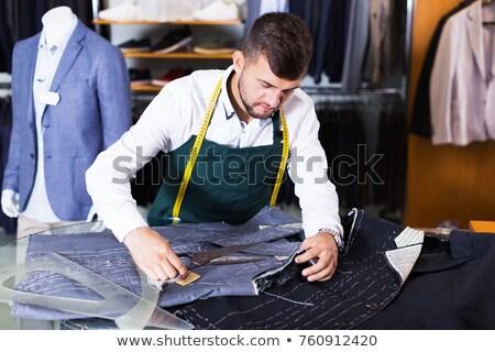 Jovem bonito alfaiate trabalhando oficina projeto Foto stock © Elnur