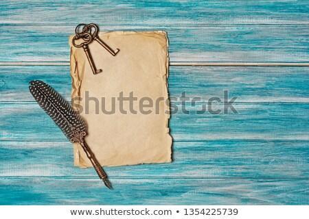 Azul papel rasgado madeira escuro papel preto Foto stock © romvo