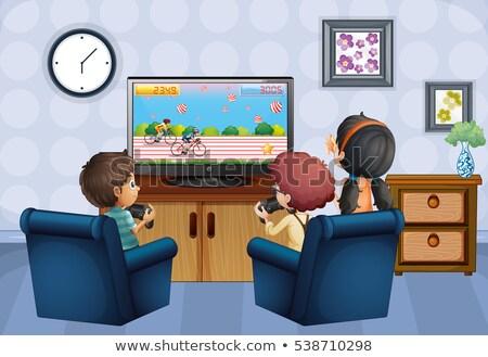 oynamak · ev · çocuklar · örnek · Bina · birlikte - stok fotoğraf © colematt