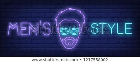 glowing neon signboard barber shop vector illustration Stock photo © konturvid